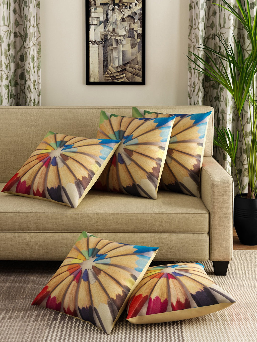 Detec™ Hosta Multi Color Printed 16 x 16 inches Cushion Cover (Set of 5 )