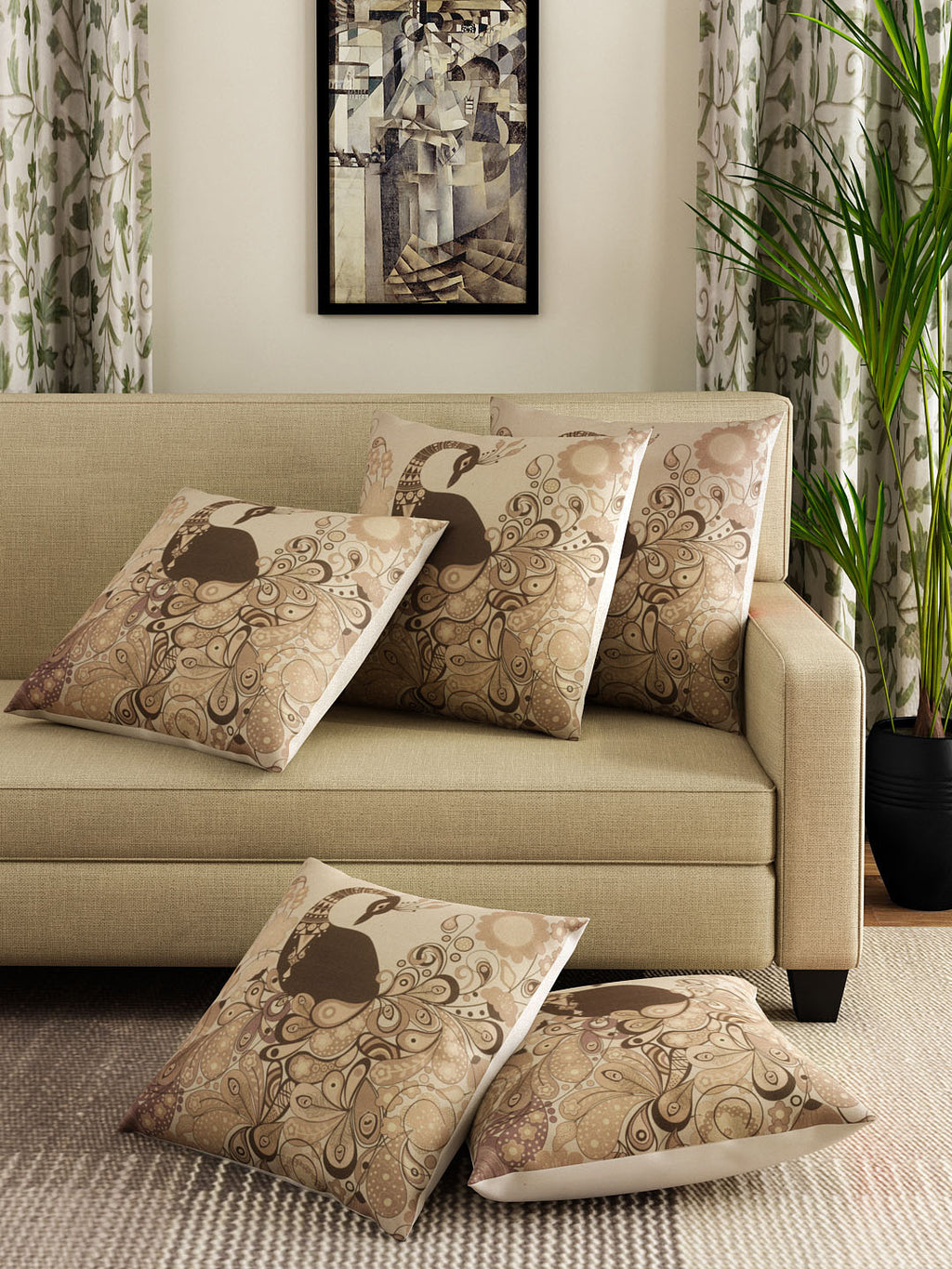 Detec™ Hosta Beige 16 x 16 inches Printed Cushion Cover (Set of 5 )
