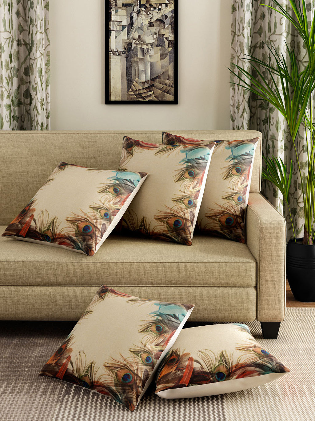 Detec™ Hosta Beige Color 16 x 16 inches Printed Cushion Cover (Set of 5 )
