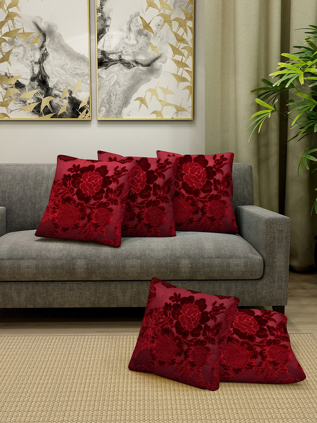 Detec™ Hosta Floral Embossed Printed Cushion Cover 16 X 16 Inches (Set of 5)