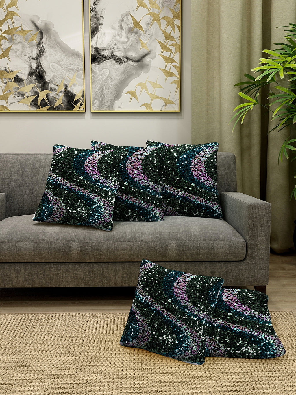 Detec™ Hosta Multi Color Sequence Detailing Cushion Cover (16 x 16 inches) Set of 5 pcs.