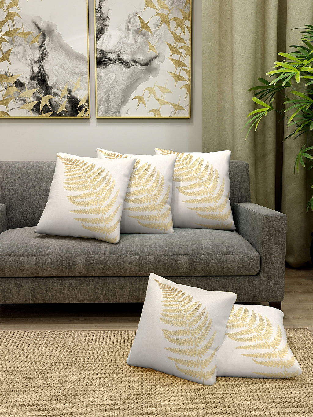 Detec™ Hosta Beige Golden Foil Printed 16 x 16 inches Cushion Cover (Set of 5 )