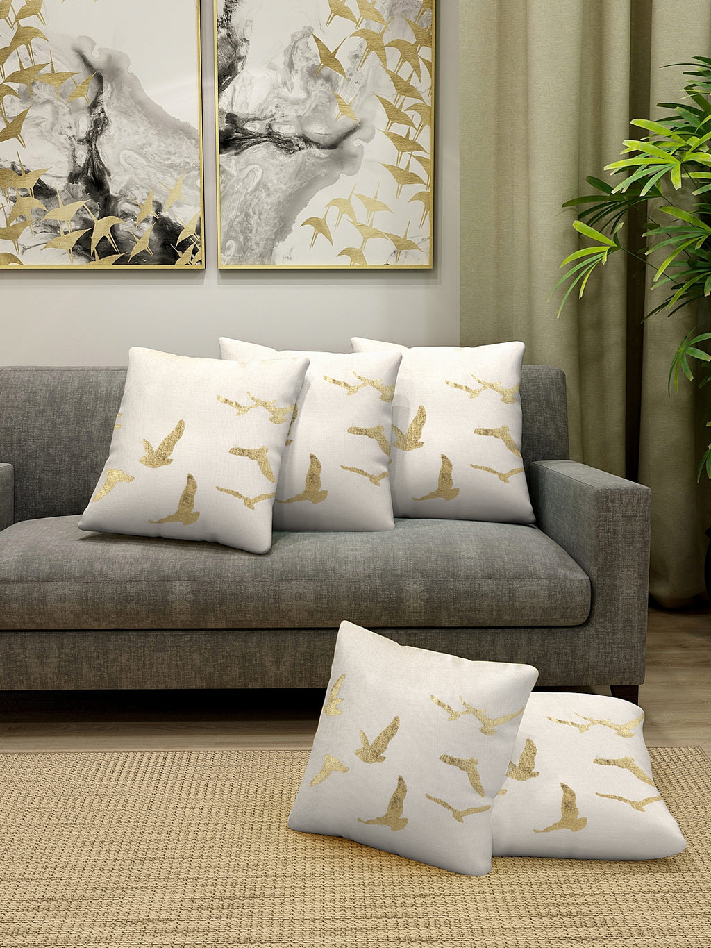 Detec™ Hosta Beige Foil Printed 16 x 16 inches Cushion Cover (Set of 5 )