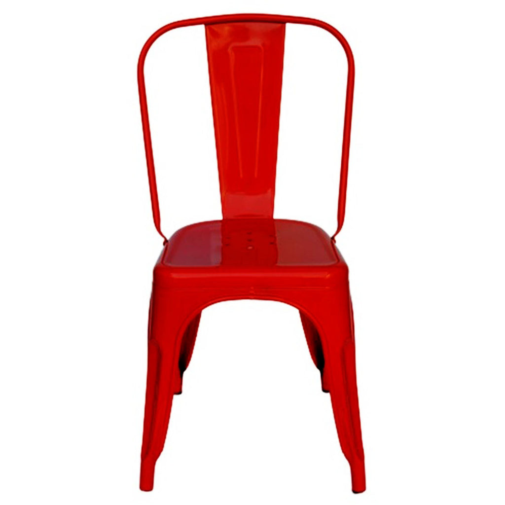 Metal Dining Cafeteria Chair Glossy Finish