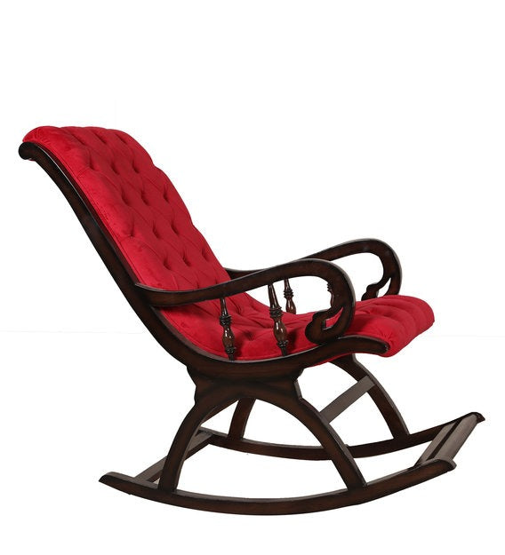 Rocking Chair With Red Upholstery