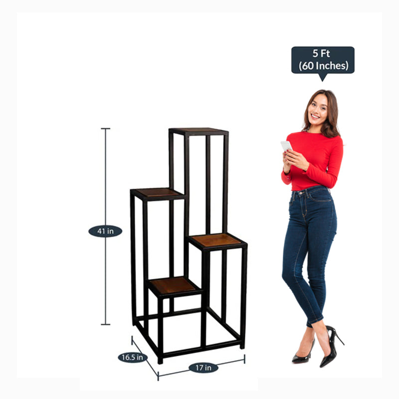 Detec™ End Table cum Display Stand in Black and Teak Finish