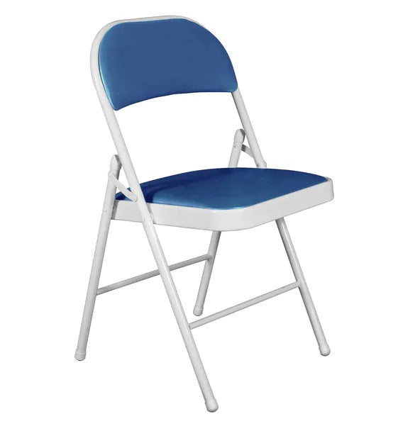 Metal Chair - White & Royal Blue Color