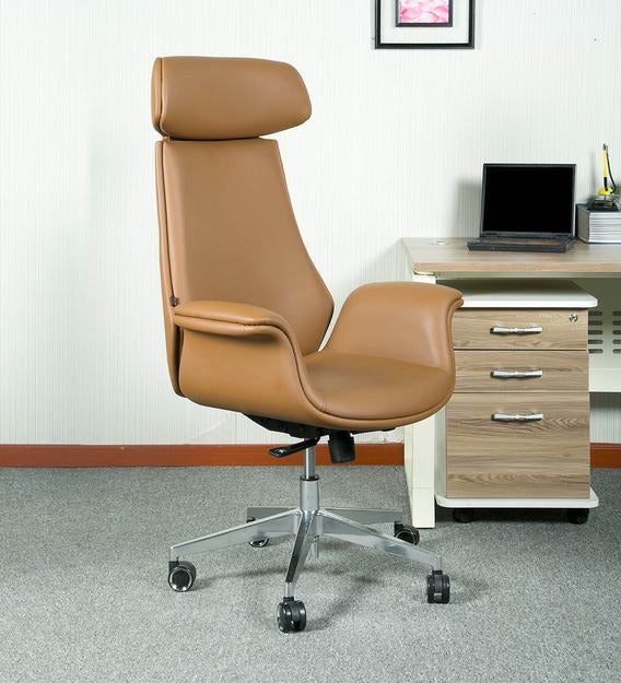 Detec™ Elegance Leatherette Office Executive Chair/Home Ergonomic Design Desk Chair in Tan Colour