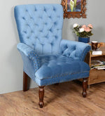 Load image into Gallery viewer, Detec™ Luxury tufted Arm Chair in Blue Colour