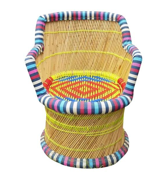 Detec™ Ethnic Handcrafted Muddha Chair in Multi Color