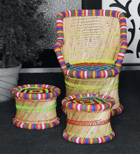 Detec™ Handcrafted Muddha Outdoor Chair with 2 Stools - Multi Color