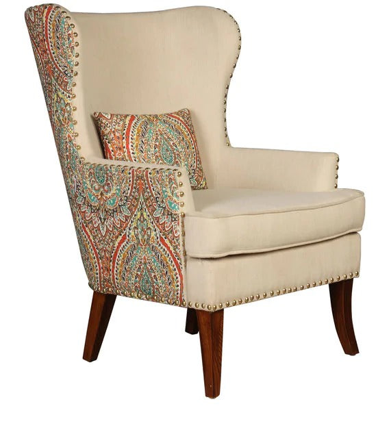 Detec™ Wing Chair - Beige Floral Color
