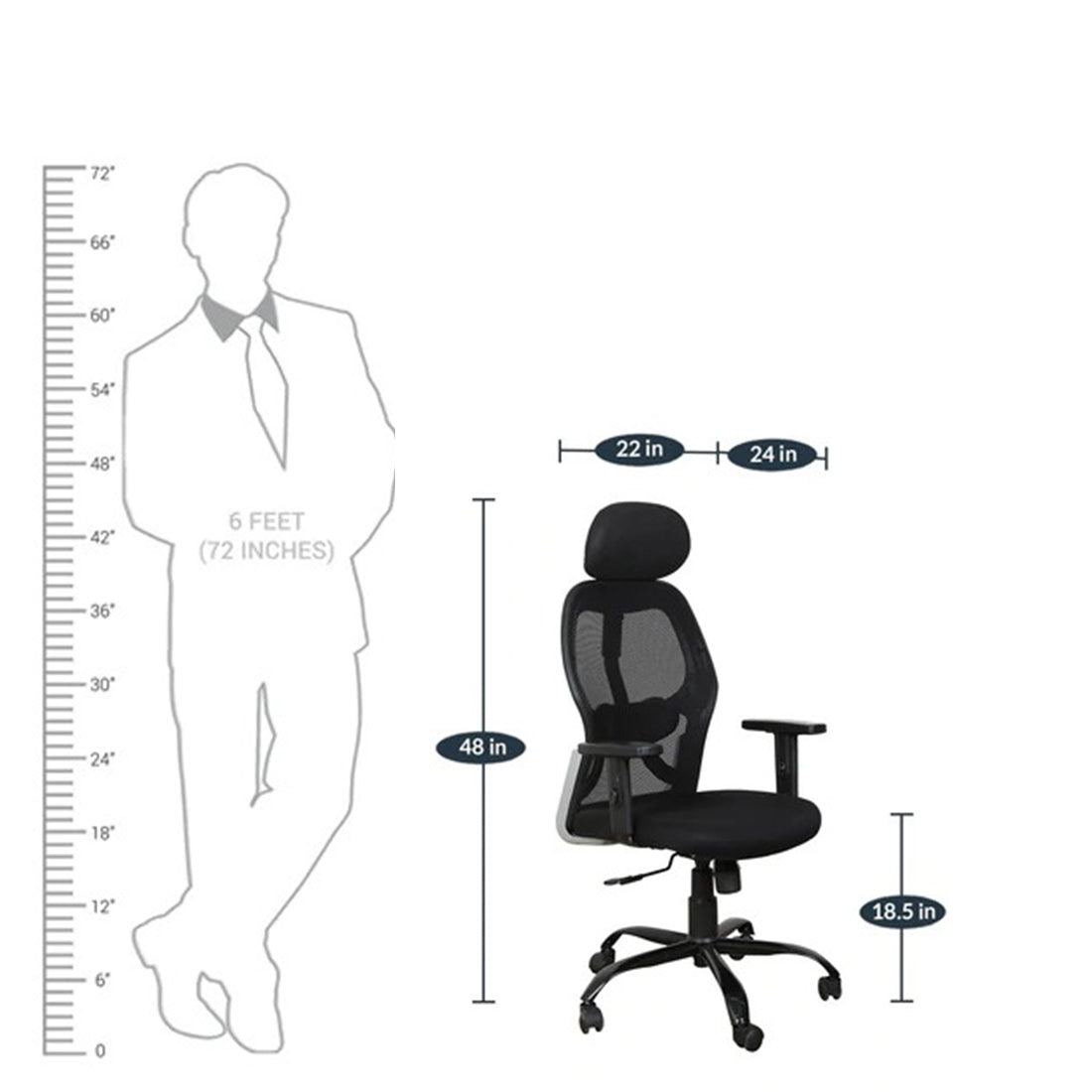Detec™ High Back Ergonomic Chair with Headrest