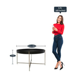 Load image into Gallery viewer, Detec™ Round Coffee Table - Black & Nickel Finish