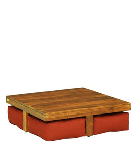 Detec™ Solid Wood Nesting Coffee Table Set - Rustic Teak Finish
