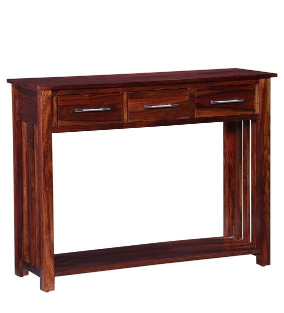Detec™ Solid Wood Console Table - Honey Oak Finish