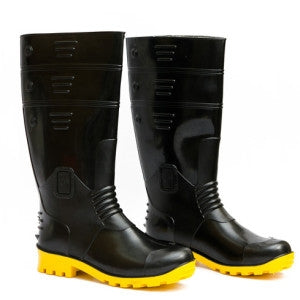 Detec™ Black and Yellow Plain Toe Gumboot