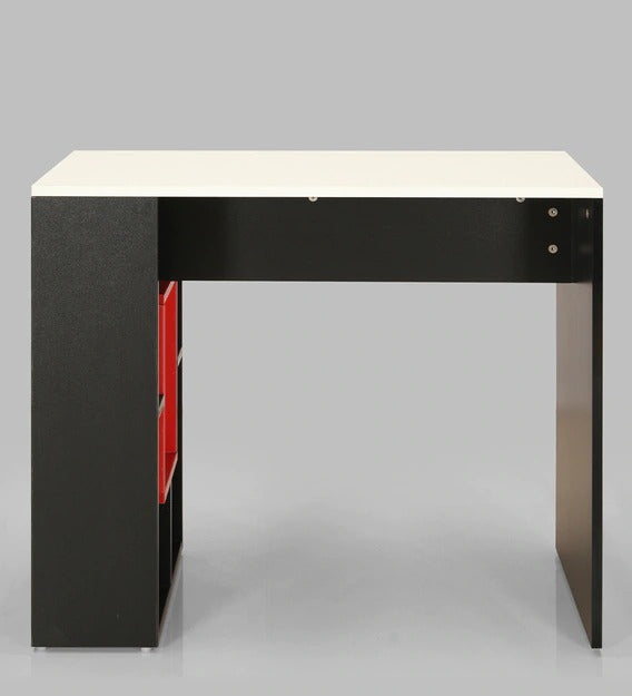 Detec™ Writing Table with Open Book Shelf - White & Black Color