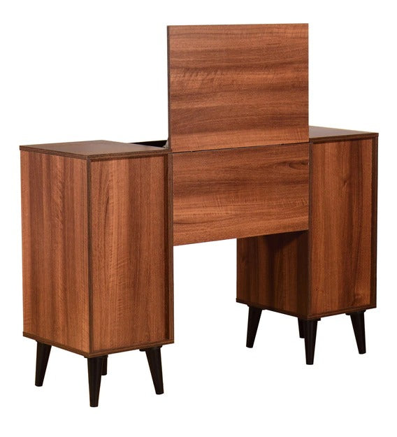 Detec™ Dressing Table with Lid Mirror - Walnut Finish