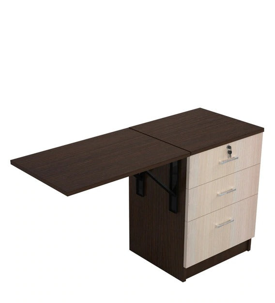 Detec™  Foldable Table Top cum Study Table with Drawer Storage - African Oak Finish