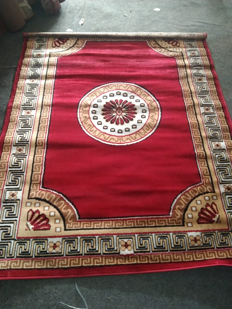 Detec™ Woolen Rug with Designer Borders - Red