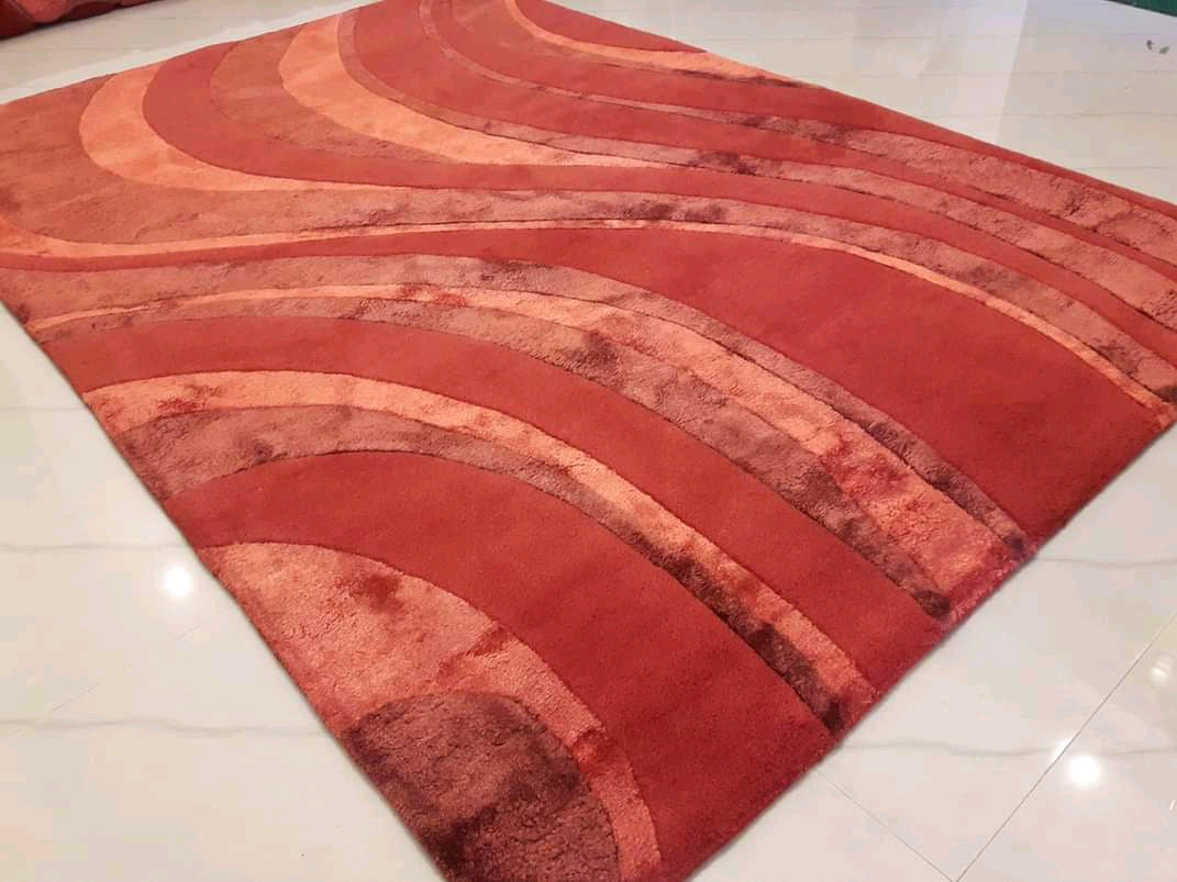 Detec™ Abstract Pattern Woolen Rug - Red