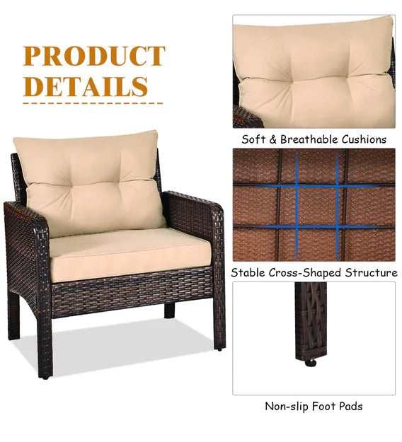 Detec™ Patio set in Brown & Cream Color