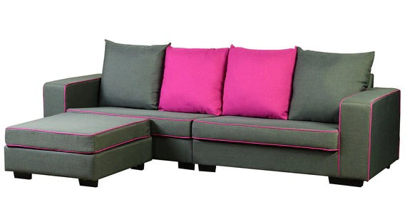 Detec™ Arnold 3 Seater Sofa with Pouffe - Grey & Magenta color