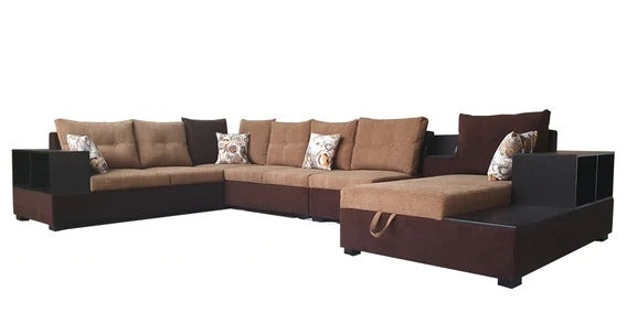 Detec™ Artur Corner Sofa - Beige & Brown Color
