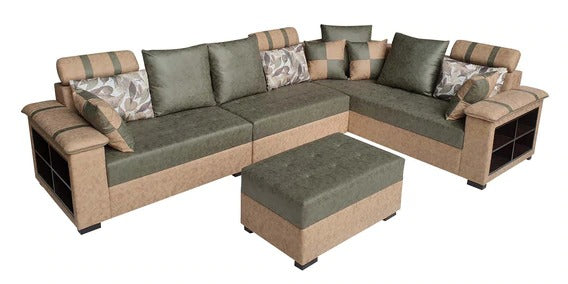 Detec™ Bastian Corner Sofa with Ottoman - Beige & Green Color