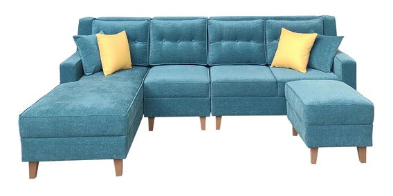 Detec™ Lothar RHS 3 Seater Sofa Set with Ottoman-Teal Green Color