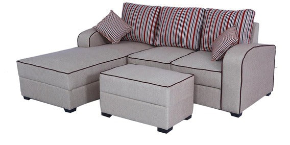 Detec™ Leopold RHS Sofa with Pouffe - Light Brown Color
