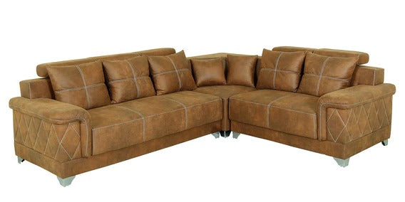 Detec™ Carl 6 Seater Corner Sofa - Dark Camel Color