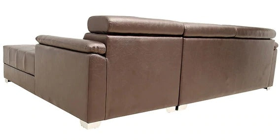 Detec™ Daniel LHS 3 Seater Sofa with Lounger - Brown Color