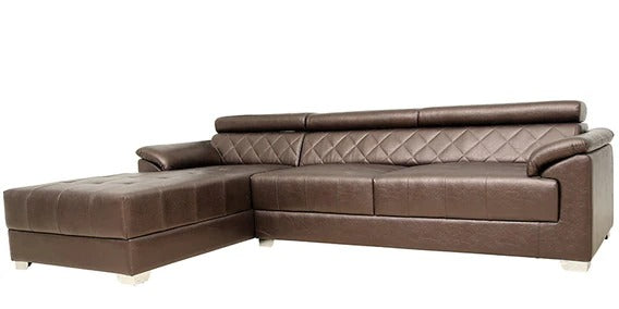 Detec™ David RHS 3 Seater Sofa with Lounger - Brown Color