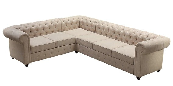 Detec™ Derek Corner Sectional Sofa with Tufted Back - Beige Color