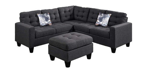 Detec™ Norbert 6 Seater Corner Sofa with Ottoman - Dark Grey Color