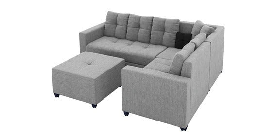 Detec™ Nicolaus 6 Seater Corner Sofa with Ottoman - Light Grey Color