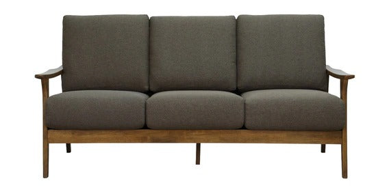 Detec™ Lutz 3 Seater Sofa - Safari Brown Color with Brown Oak Finish