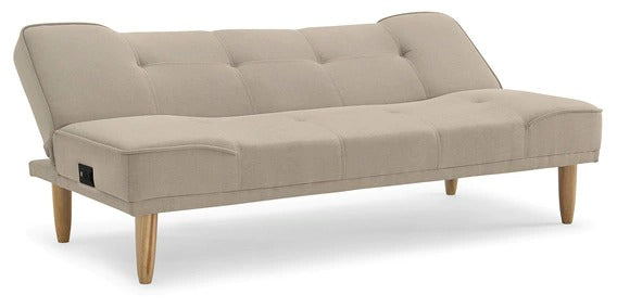 Detec™ Jacob Sofa Cum Bed with Power Outlet - Beige Color