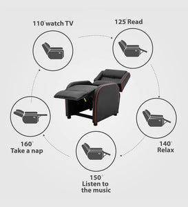 Detec™ Carl Single seater Manual Gaming Recliner with Armrest pocket - Black Color