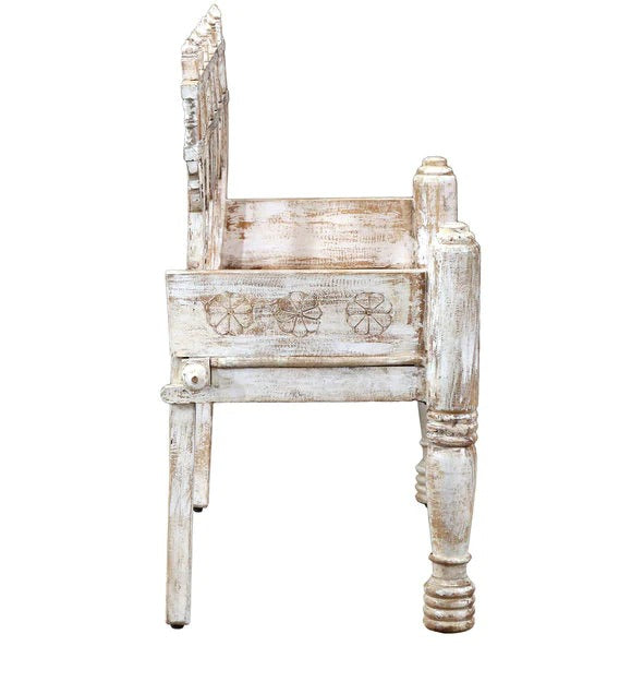 Detec™ Ethan Solid Wood Settee - White Distress Finish