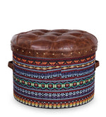 Load image into Gallery viewer, Detec™ Feodora Multicolor Textile Round Ottoman - Vintage Brown Leather