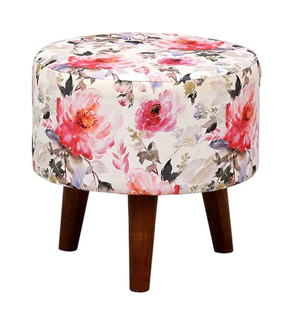 Detec™ Solid Wood Foot Rest Stool with Floral Print