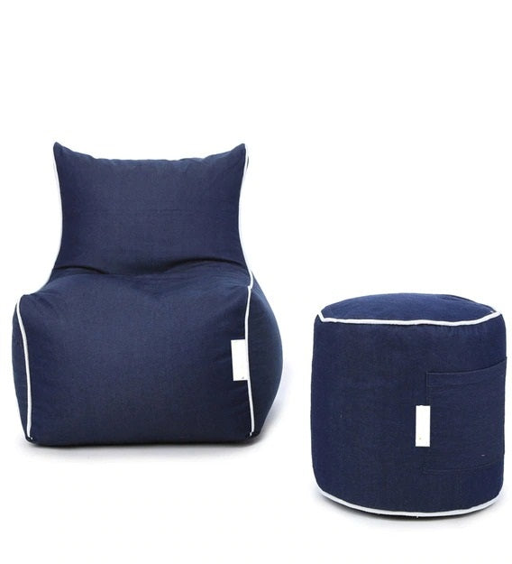 Detec™ Denim XXXL Bean Bag & Round Pouffe with Beans - Blue Color