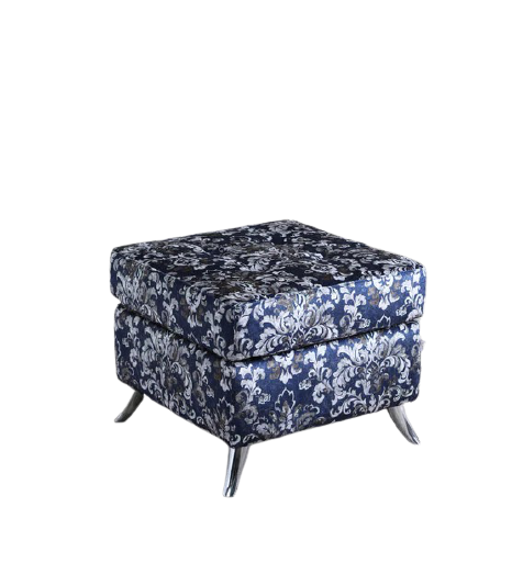 Detec™ Grigory Ottoman - Blue Floral Design