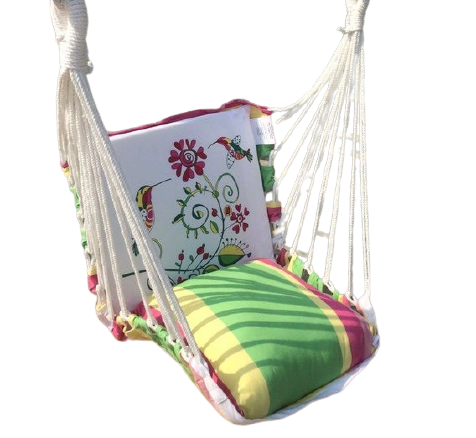 Detec™ Printed Swing Chair with Pillow - White & Green Color