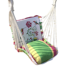 Load image into Gallery viewer, Detec™ Printed Swing Chair with Pillow - White & Green Color