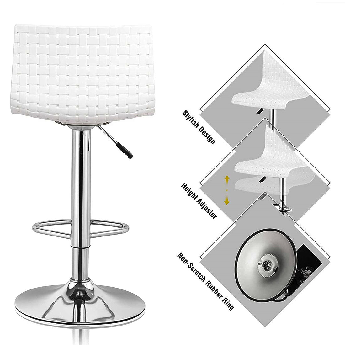 Cafeteria Restaurant Bar Stool Chair (White)