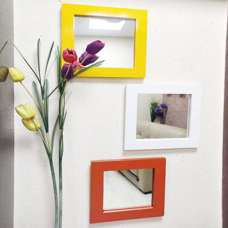 Detec Homzë Designer Wall Mirrors - Orange, Green, Yellow, White and Red color